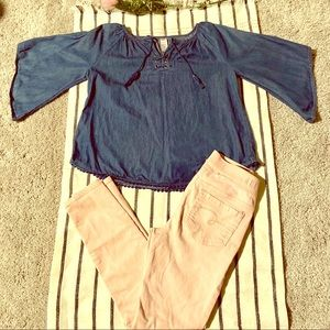 Justice Outfit Sz8 pink jean leggings & chambray